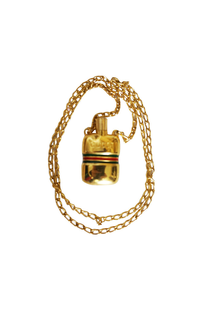 1960s Gucci Gold Plated Perfume Bottle Necklace