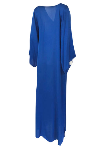 1971 Halston Couture Royal Blue Liquid Silk Bias Cut Caftan Maxi Dress