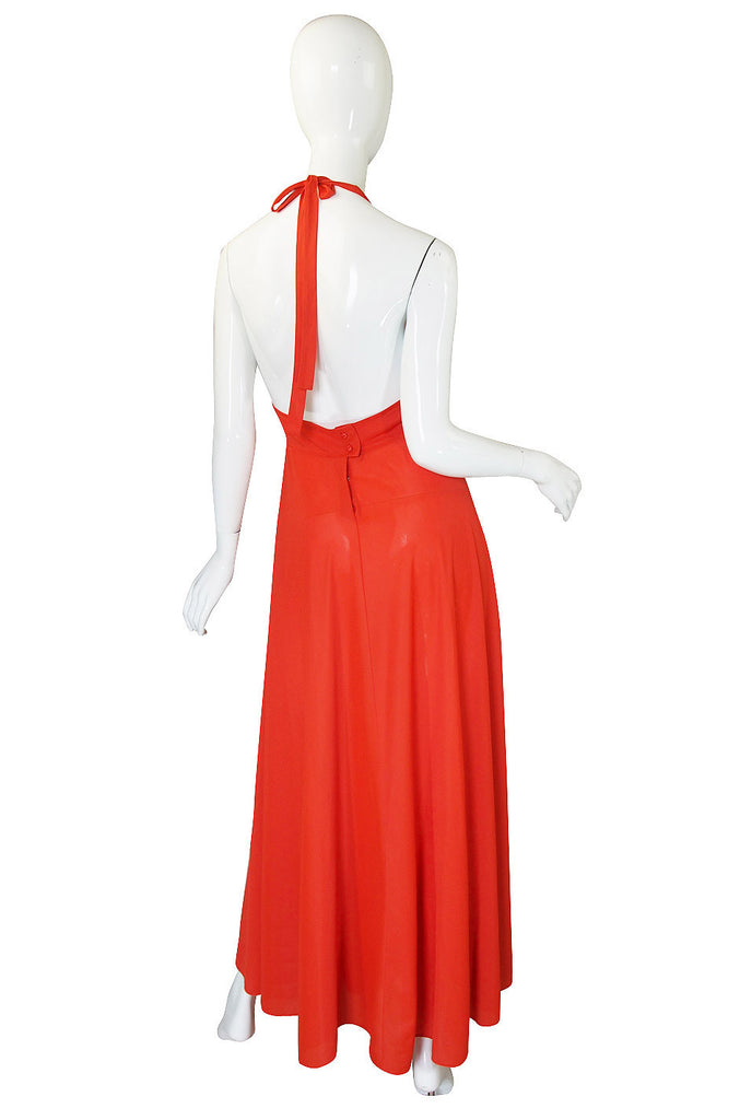 1970s Miss Dior Plunging Bright Maxi Dress