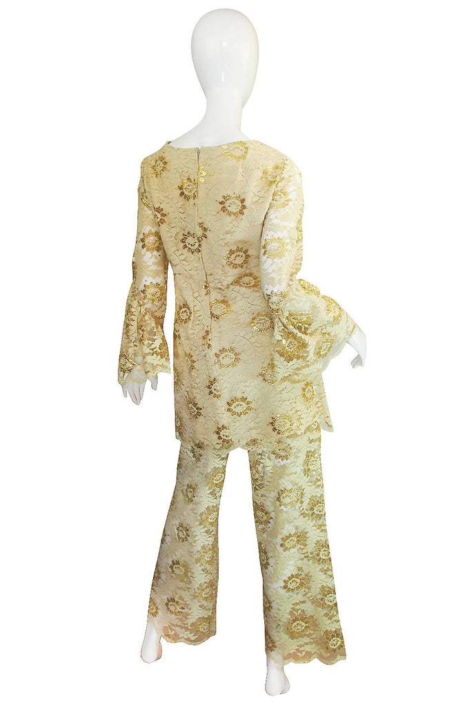 1960s Cream and Gold Lace Pants & Tunic Set