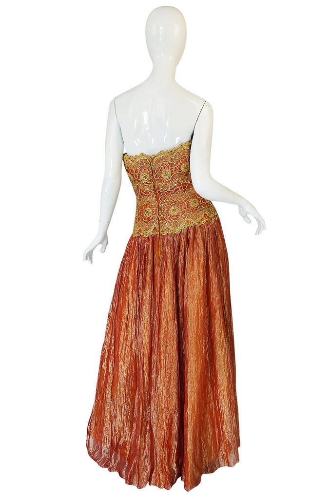 1980s Bob Mackie Strapless Gold Cord & Lame Silk Dress