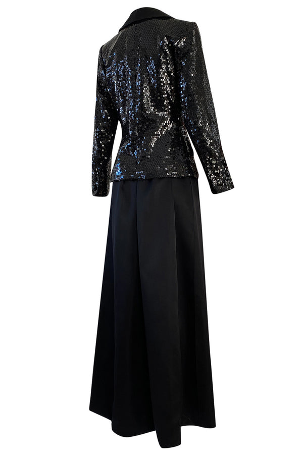 Documented Fall 1992 Yves Saint Laurent Black Sequin 'Le Smoking' Jacket & Silk Maxi Skirt Set