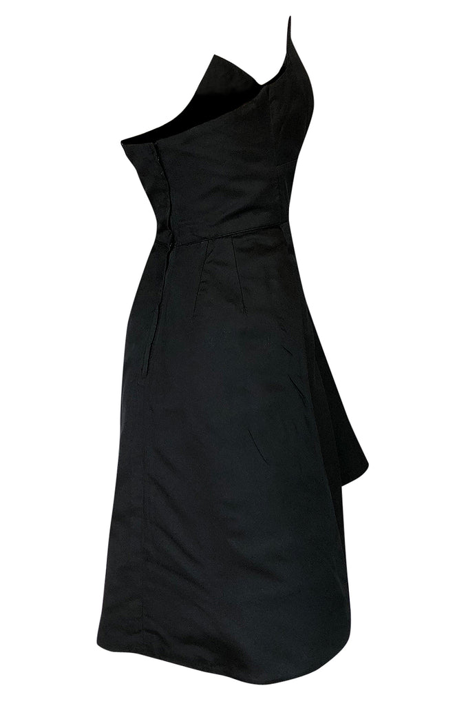 1970s Lanvin Strapless Silk Dress w Bow Detail & Layered Skirt