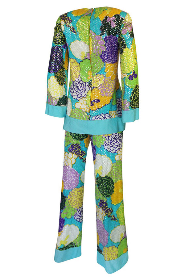 1962-1965 Bob Bugnand Densely Sequin Floral Printed SIlk Pant Suit Set