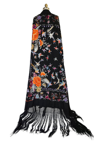 Extraordinary 1920s Embroidered Silk Fringe Piano Shawl