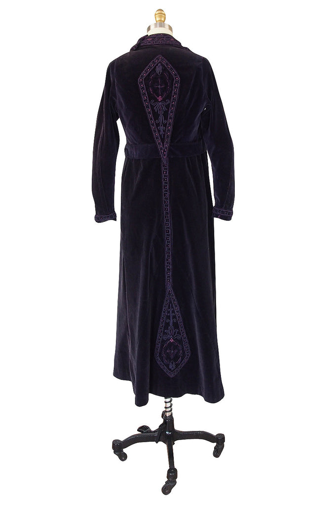 1910s Velvet Emboridered & Applique Panel Dress