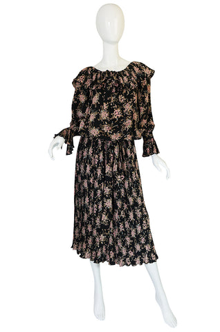 Late 1970s Gina Fratini Silk Print Multi Length Dress