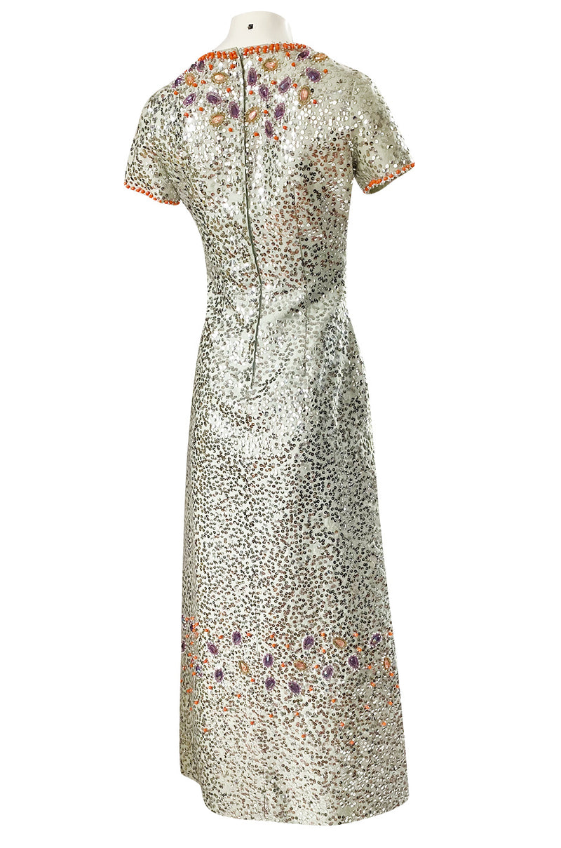 1960s Gene Shelley Pale Ice Blue Silk Dress w Silver Sequins & Beads