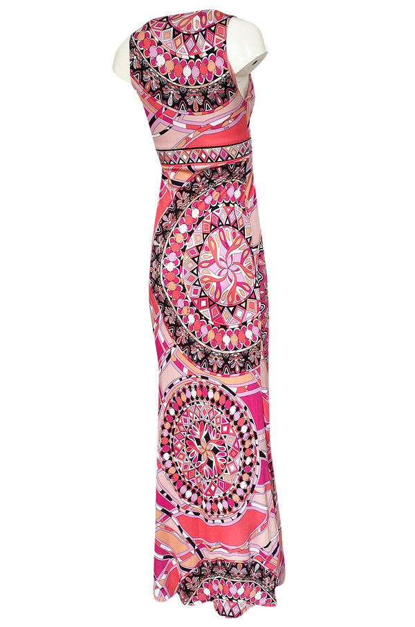 Recent 2000s Emilio Pucci Sleeveless Pink Printed Silk Jersey Dress New w Tags