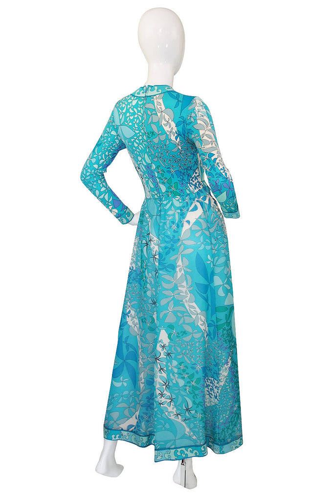 1970s Turquoise Blue Silk Bessi Maxi Dress