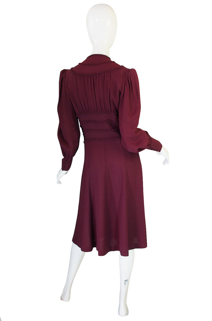 1940s Amazing Burgundy Crepe Swing Dress