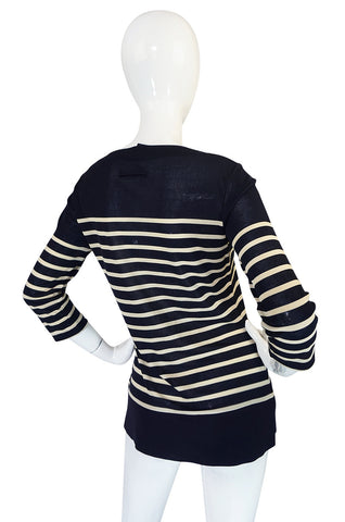 Early 2000s Jean Paul Gaultier Navy Breton Striped Knit Top