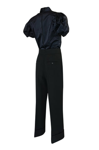 F/W 2002 Prada Runway Look 19 Navy Top & Black Pants Set