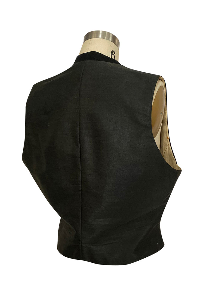 Dated 1920 Mens Black Worsted Wool & Silk Back & Interior Vest