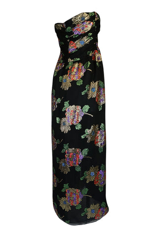 1970s Oscar De La Renta Silk & Vivid Metallic Strapless Dress