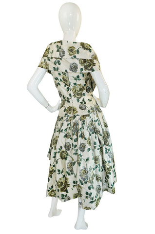 Stunning 1950s Demi-Couture Washed Print Silk Taffeta Dress
