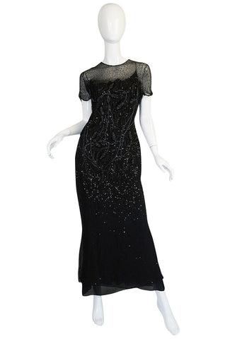 1980s Bill Blass Sequin & Beaded Black Silk Chiffon Dress