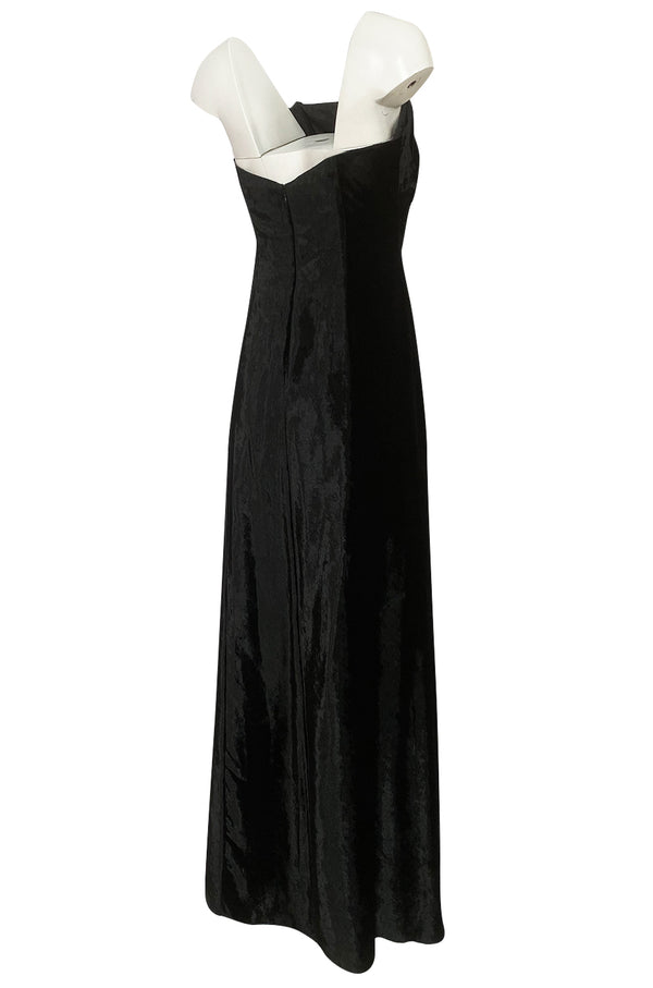 Austere 1980s Halston Strapless Liquid Black Silk Velvet Dress