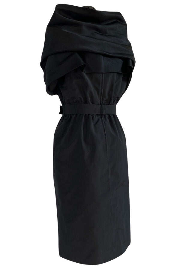 Exceptional Late 1970s Ady Couture Lausanne Black Silk Dress w Dramatic Wide Collar Shoulder Wrap
