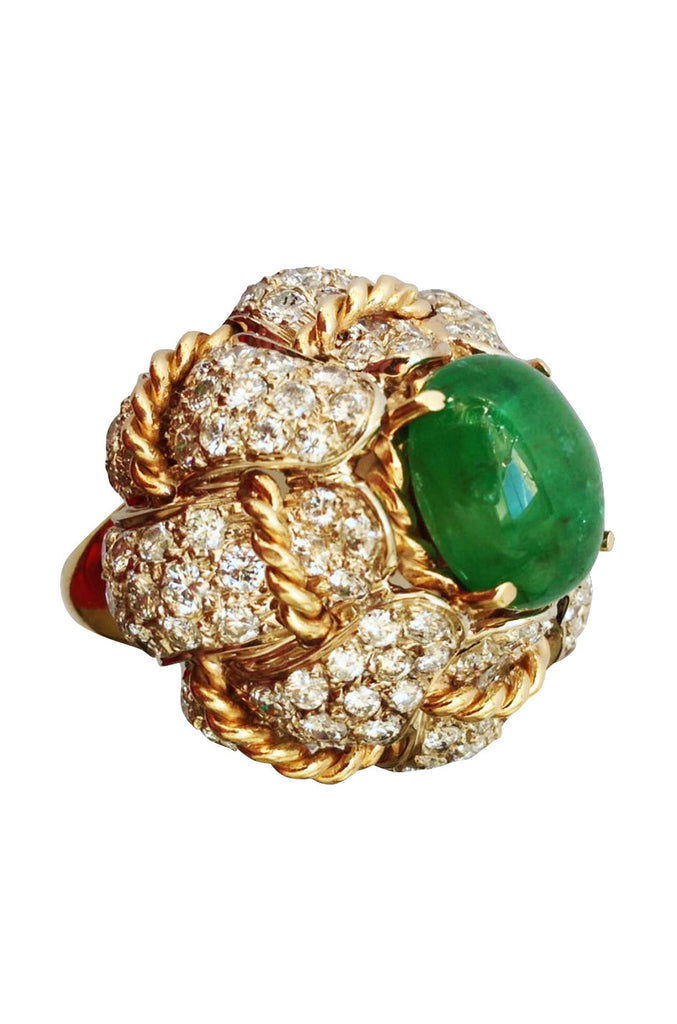 1960s Emerald Diamond Gold Cocktail Dome Ring