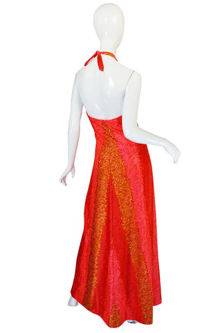 1960s DeWeese Coral and Red Halter Maxi Dress