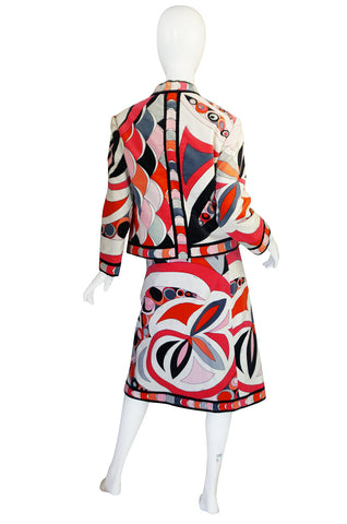 1960s Beautiful Velvet Coral Pucci Jacket & Skirt