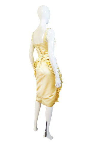 1950s Demi-Couture Pale Yellow Silk Satin Pleat Dress