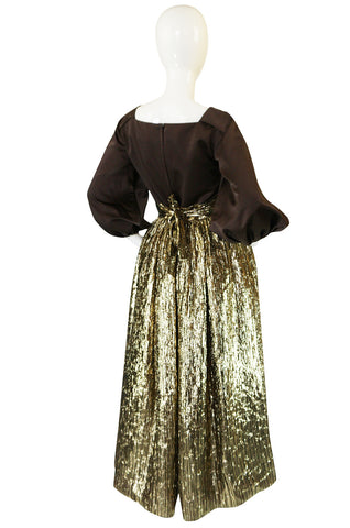 1970s Travilla Puffed Sleeve Silk & Gold Lame Gown