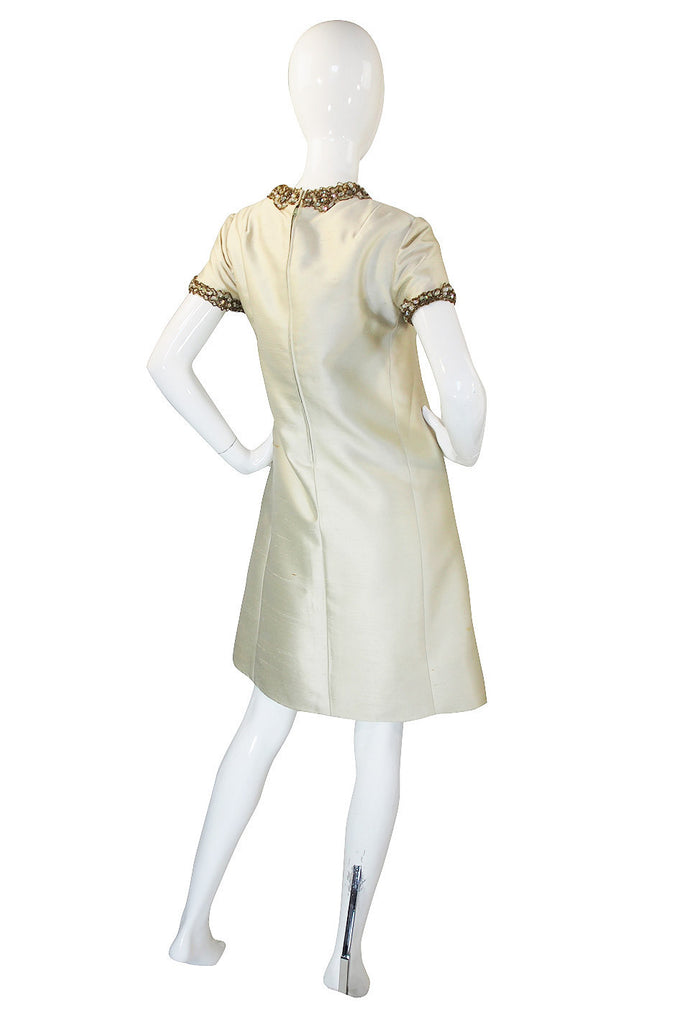 1960s Silk & Bead Malcolm Starr Shift Dress