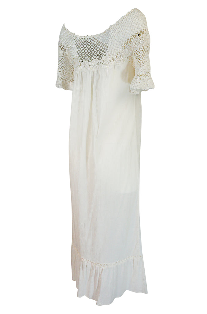 1960s Unlabelled Crochet & Embroidered White Gauze Midi Dress