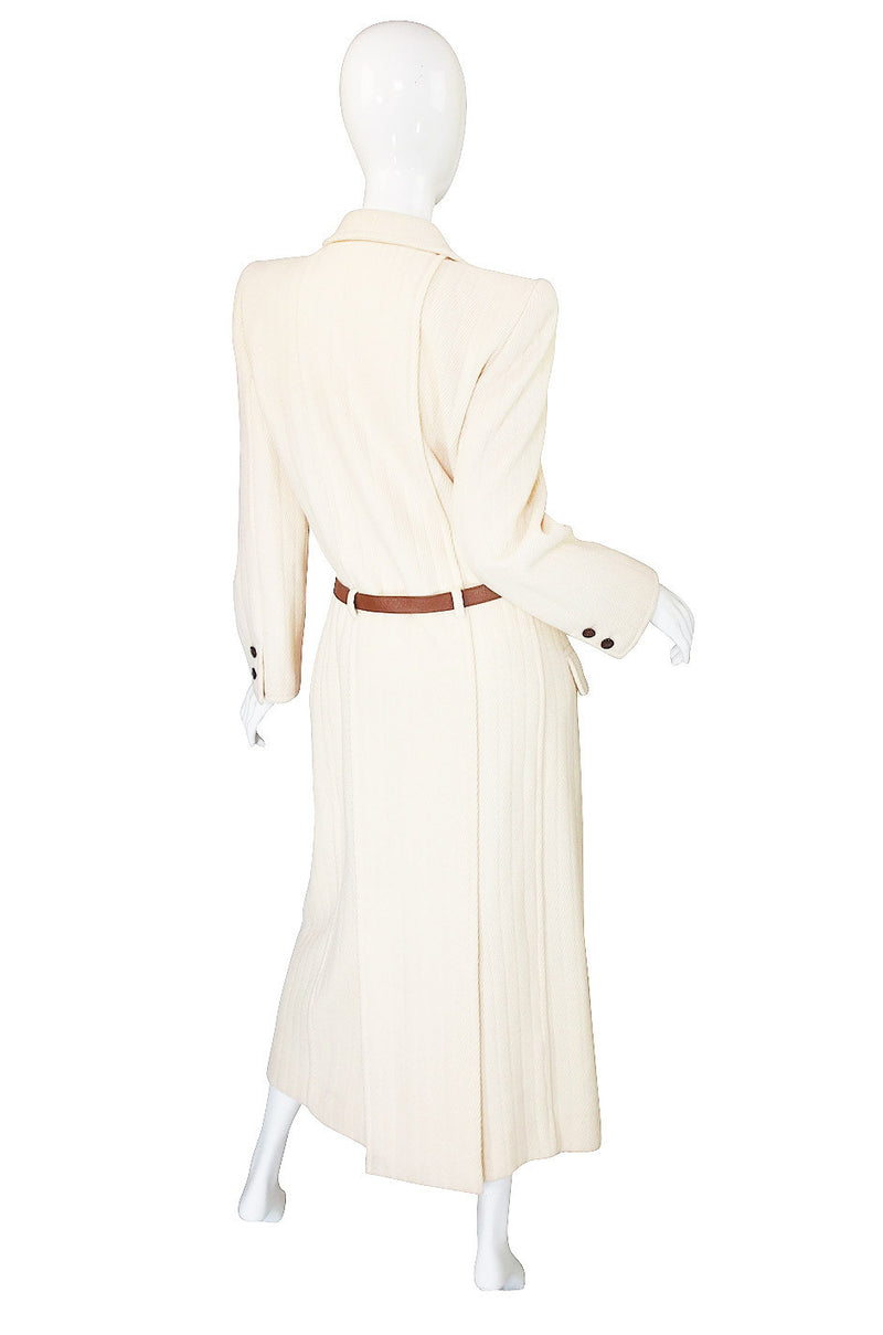 1980s Valentino Belted Ribbed Cream Coat