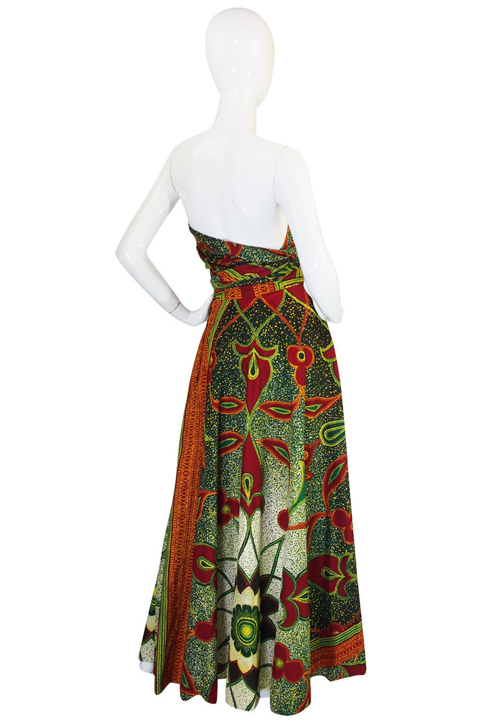 1970s Multi Tie Bohemian Cotton Batik Print Maxi Dress