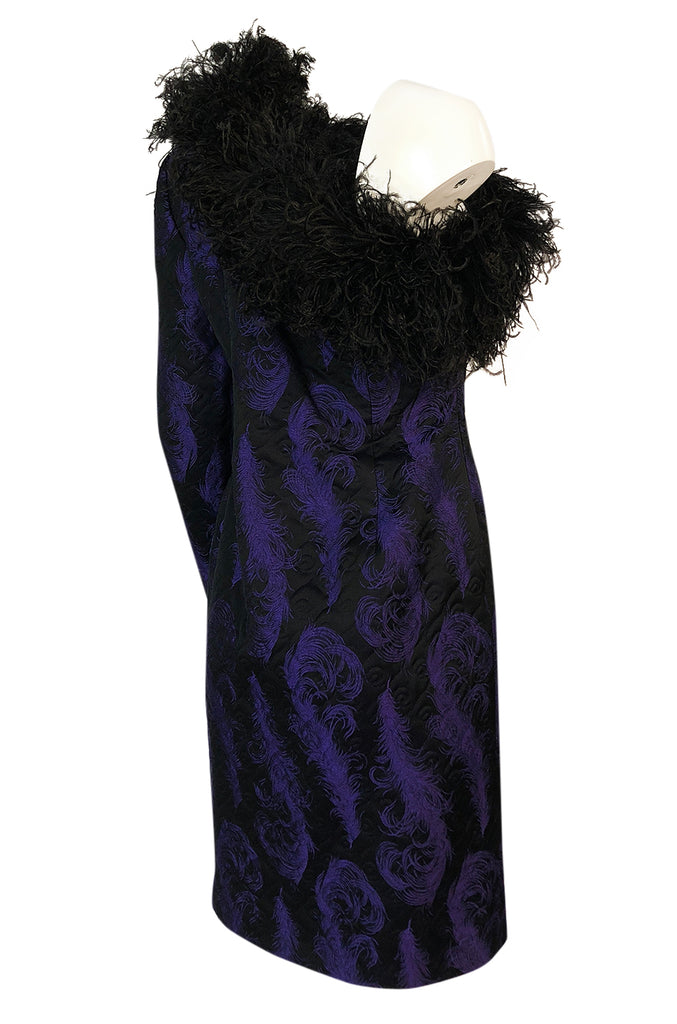 c.1988 Patrick Kelly Purple Brocade One Shoulder Feather Trim Dress