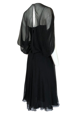 1970s Stavropoulos Couture Black Silk Chiffon Cocktail Dress