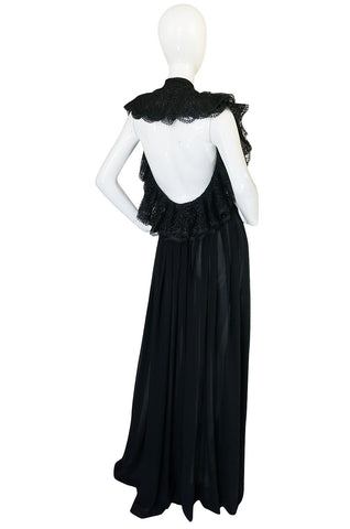 1970s Plunging Silk Chiffon & Lace Couture Galanos Gown