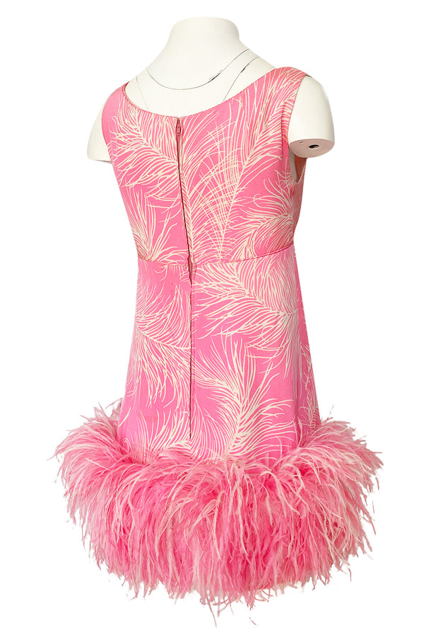 1960s Jerry Silverman Pink Print Mini Dress w Pink Feather Hem Detailing