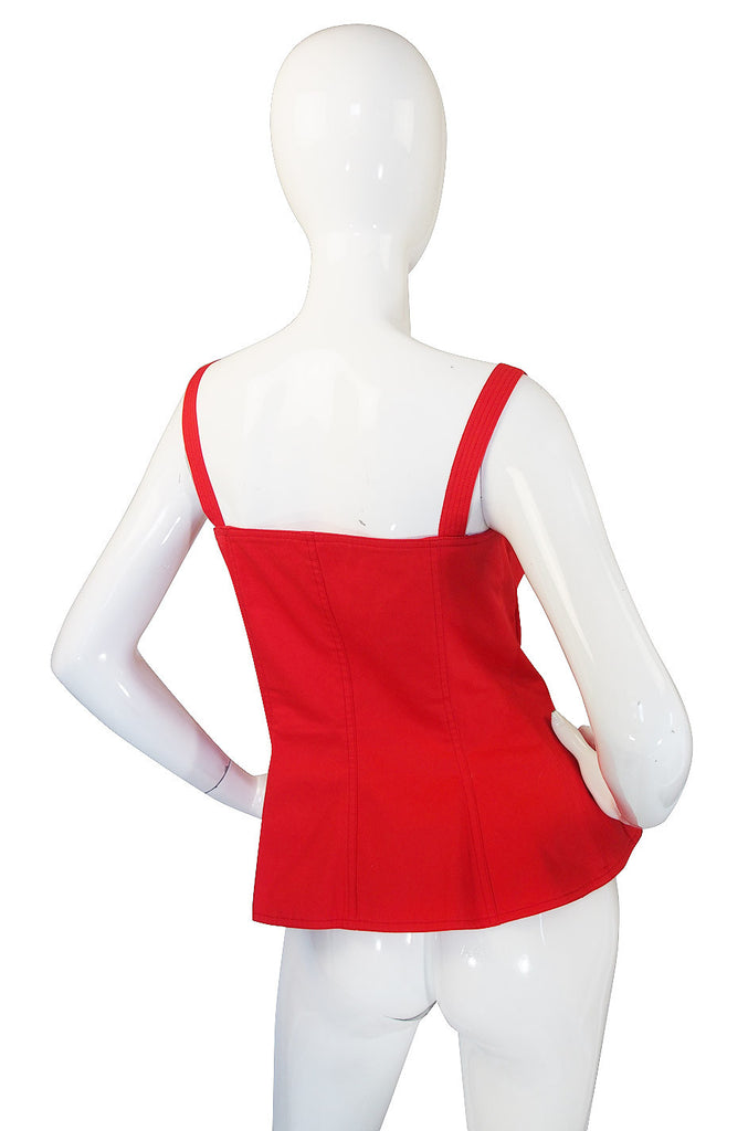 1970s Yves Saint Laurent Red Corset Top