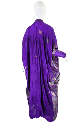 1960s Sleeved Purple Silk & Gold Thread Caftan