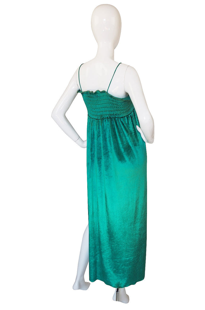 Now On Sale - 1970s Green Liquid Velvet Bill Tice Maxi