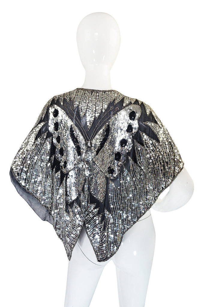 1970s Silver Sequin Butterfly Cape or Top