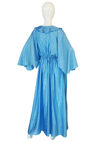 1970s Zandra Rhodes Blue Lingerie Plunging Caftan Dress