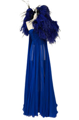 F/W 2004 Jean Louis Scherrer Haute Couture Runway Dress & Feather Cape