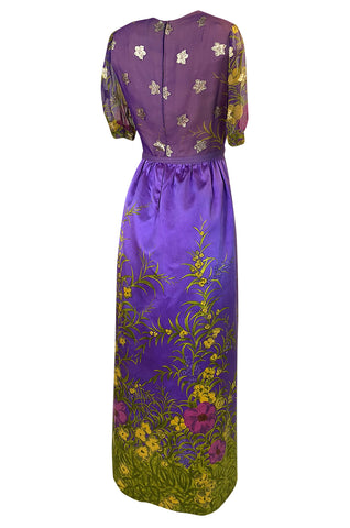 1960s Oscar de la Renta Prettiest Painted Floral Silk & Metallic Dress