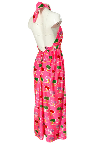 1973 Oscar de la Renta Brilliant Pink Backless Halter Dress w Front Keyhole