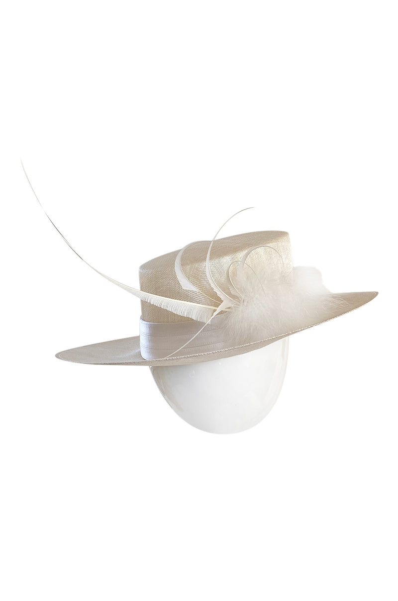 Bespoke 2001-2006 Philip Treacy Haute Couture Parasisal Straw Hat w Feather Detail