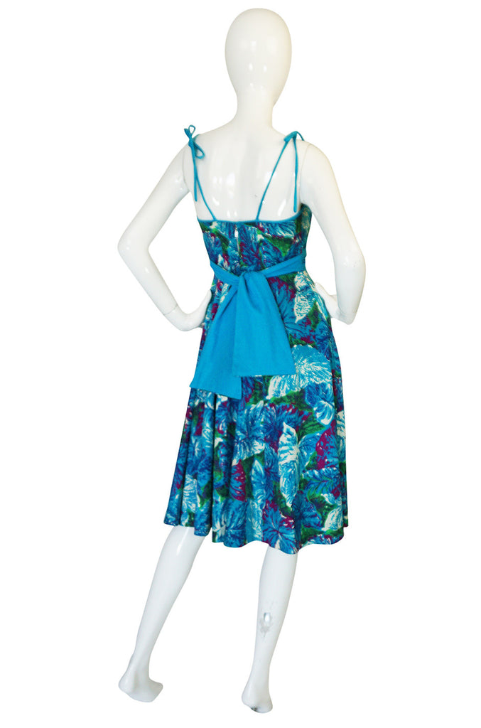 1950s Kamehameha Blue Floral Print Hawaiian Dress