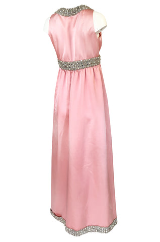 c.1966 Oscar De La Renta Pink Silk Satin & Silver Embellished Dress