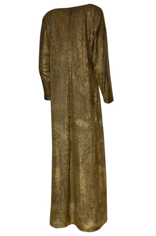1970s Halston Deep Copper Gold Metallic Lame Lurex Caftan Dress