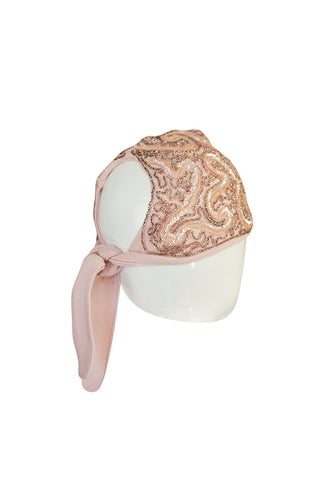 1940s Labeled Pink Sequin Tie Turban skullcap Hat