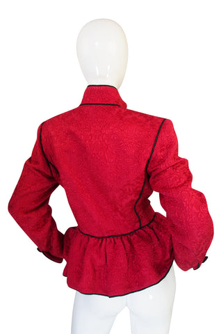 c1977-78 Collection Yves Saint Laurent Red Silk & Black Jacket